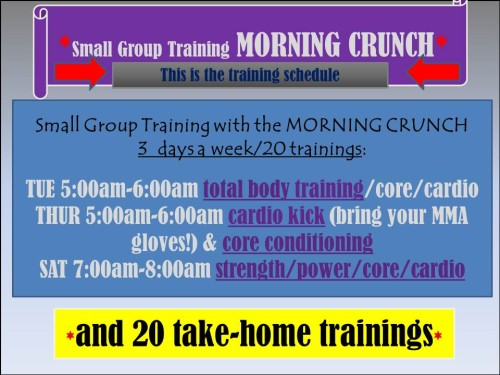 Click the pic for the detailed MORNING CRUNCH Small Group Training protocols!